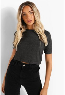 Charcoal Cropped Short Sleeve T Shirt