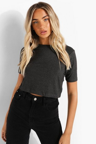 Charcoal grey Cropped Short Sleeve T Shirt