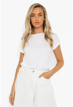 White Roll Sleeve Crew Neck T Shirt