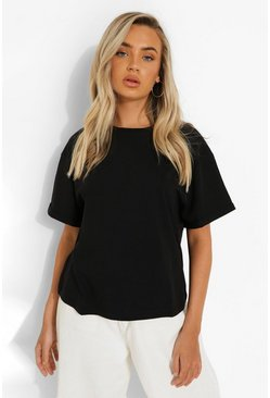 Black Roll Sleeve Oversized Cropped T Shirt