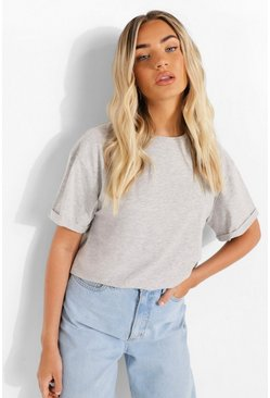 Grey marl grey Roll Sleeve Oversized Cropped T Shirt