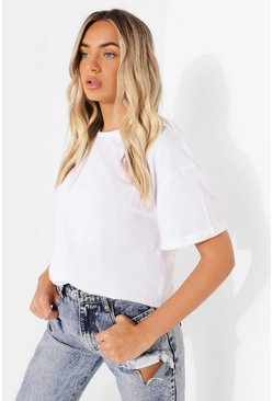 White Roll Sleeve Oversized Cropped T Shirt