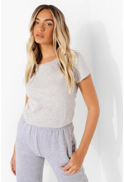 Grey marl grey Scoop Neck Short Sleeve T Shirt