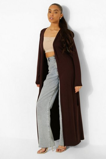 Chocolate brown Maxi Jersey Kimono