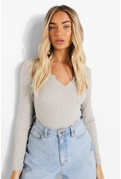 Grey marl Rib Notch Neck Long Sleeve Bodysuit