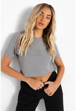 Grey marl Cropped Short Sleeve T Shirt