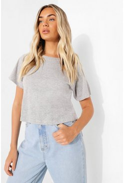 Grey Cropped Raglan Sleeve T Shirt