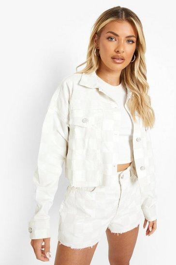 Taupe beige Cropped Checkerboard Printed Denim Jacket
