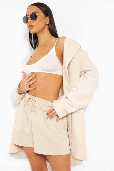 Sand beige Basic Embroidered Jersey Short