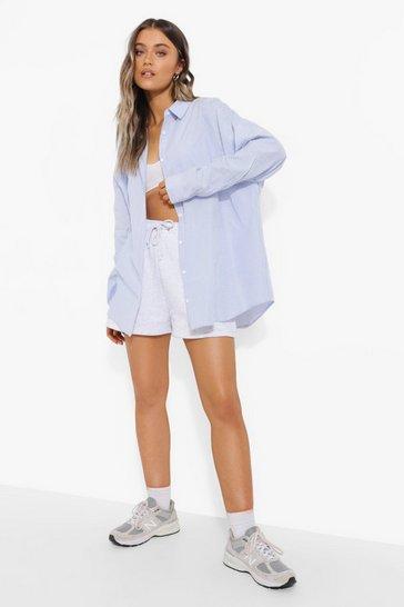 Blue Oversize Striped Shirt