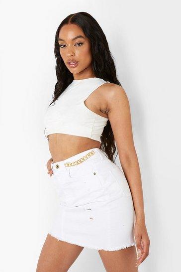 White Chain Waist Detail Denim Skirt