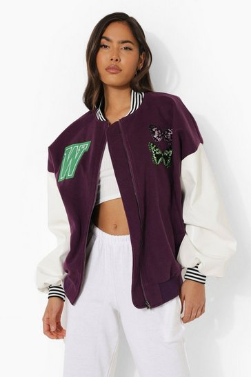 Purple Butterfly Embroidered Varsity Bomber