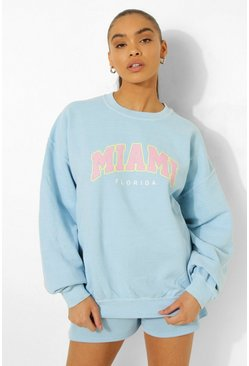 Overdyed Oversized Miami Print Sweater, Blue Синий