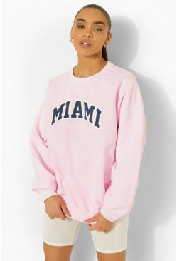 Overdyed Oversized Miami Print Sweater, Light pink Розовый