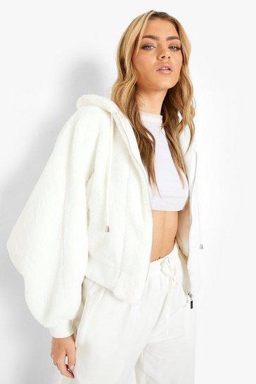 Cream white Faux Fur Oversized Hooded Bomber