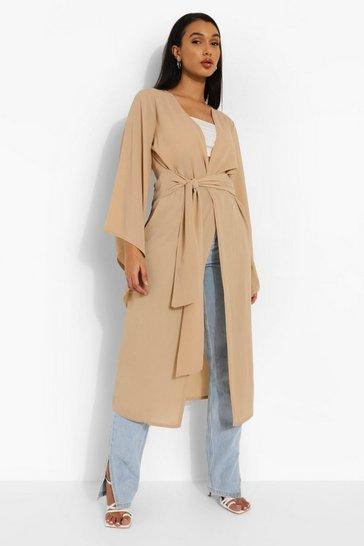 Stone beige Wide Sleeve Woven Maxi Kimono