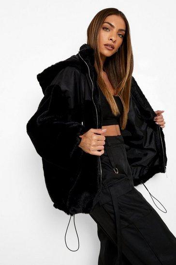 Black Fabric Mix Faux Fur Oversized Jacket