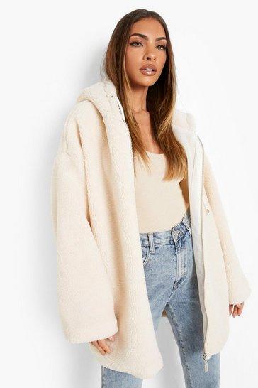 Cream white Oversized Teddy Faux Fur Jacket