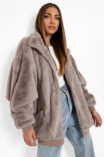 Mocha beige Oversized Pocket Detail Faux Fur Jacket
