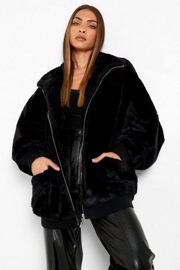 Black Oversized Pocket Detail Faux Fur Jacket