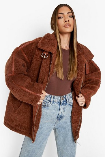 Camel beige Oversized Buckle Detail Teddy Coat