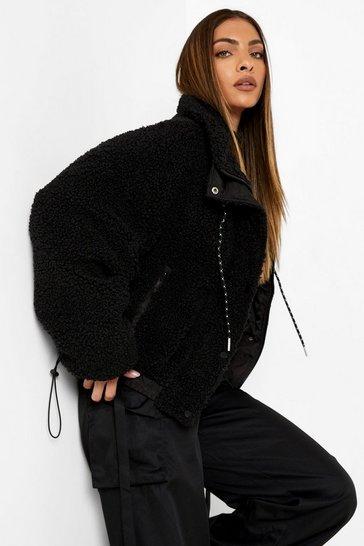 Black Faux Fur Funnel Neck Jacket