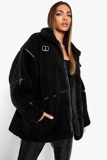 Black Oversized Buckle Detail Teddy Coat
