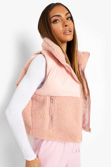 Pink Borg Panelled Puffer Gilet