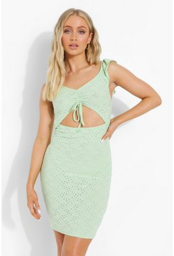 Sage green Broderie Cut Out Ruched Mini Dress