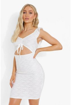 White Broderie Cut Out Ruched Mini Dress