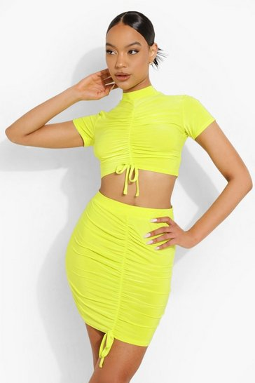Lime green Ruched Crop & Skirt Set
