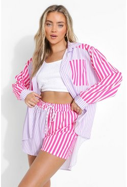Lilac Contrast Stripe Relaxed Fit Shorts