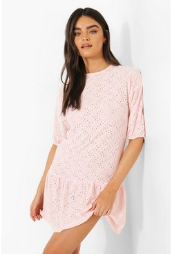Baby pink pink Broderie Drop Hem Smock Dress
