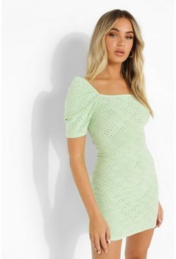 Sage green Broderie Square Neck Mini Dress