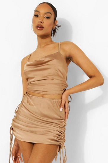 Blush pink Satin Ruched Crop & Midi Skirt