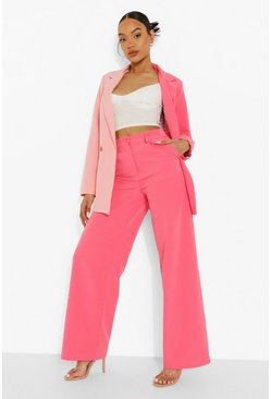 Magenta pink Pink Wide Leg Tailored Trousers