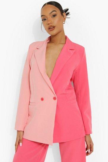 Pink Colour Block Oversized Blazer