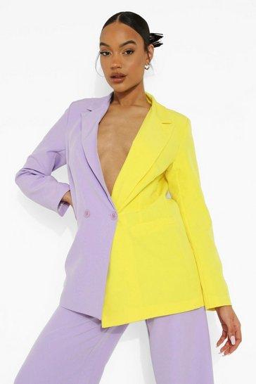 Lilac & Lime Colour Block Blazer