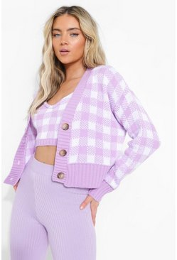 Gingham Knitted Twinset Co-ord, Lilac viola
