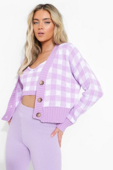 Lilac purple Gingham Knitted Twinset Co-ord