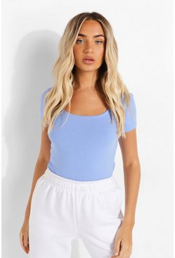 Cornflower blue Scoop Neck Short Sleeve Bodysuit