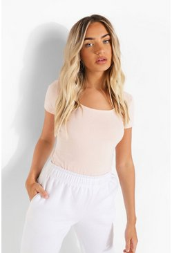 Peach Scoop Neck Short Sleeve Bodysuit