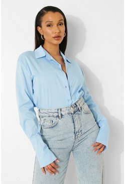 Blue Relaxed Fit Cotton Poplin Shirt
