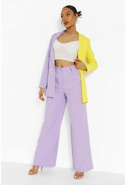 Lilac Wide Leg Tailored Trousers