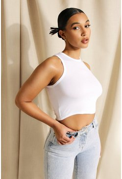 White Basic Racer Crop Top