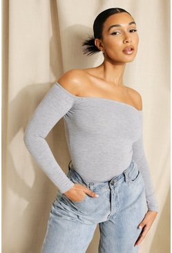 Grey marl grey Basic Off The Shoulder Bodysuit