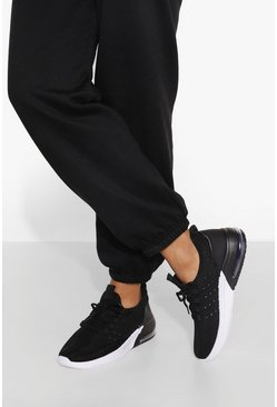 Black Contrast Sole Knitted Sports Trainer