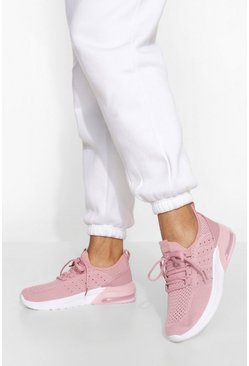 Pink Contrast Sole Knitted Sports Trainer