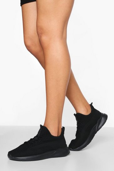 Black Knitted Tab Detail Sports Trainer