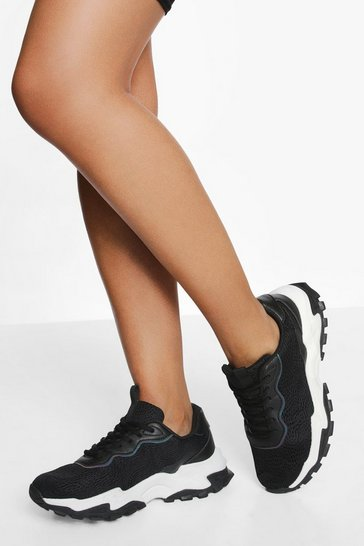 Black Chunky Knitted Sports Trainer